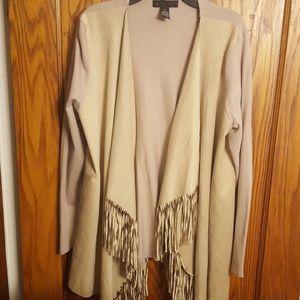 Faux Suede & Knit Sweater Jacket